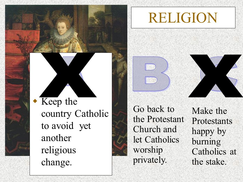 RELIGION Keep the country Catholic to avoid yet another religious change. Make the Protestants happy by burning Catholics at the stake. Go back to the
