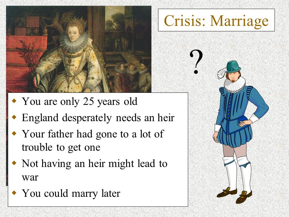 Crisis: Marriage You are only 25 years old England desperately needs an heir Your father had gone to a lot of trouble to get one Not having an heir might lead to war You could marry later
