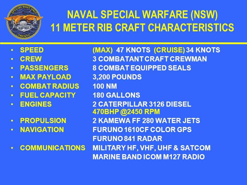 CREW COMPOSITION IN A TWO BOAT DETACHMENT 1 OFFICER IN CHARGE (PATROL OFFICER) 1 PETTY OFFICER IN CHARGE (HELMSMAN) 1 CHIEF ENGINEER 1 NAVIGATOR / COMMUNICATOR 1 ASSISTANT OFFICER IN CHARGE 1 PETTY OFFICER IN CHARGE (HELMSMAN) 1 CHIEF ENGINEER 1 NAVIGATOR / COMMUNICATOR