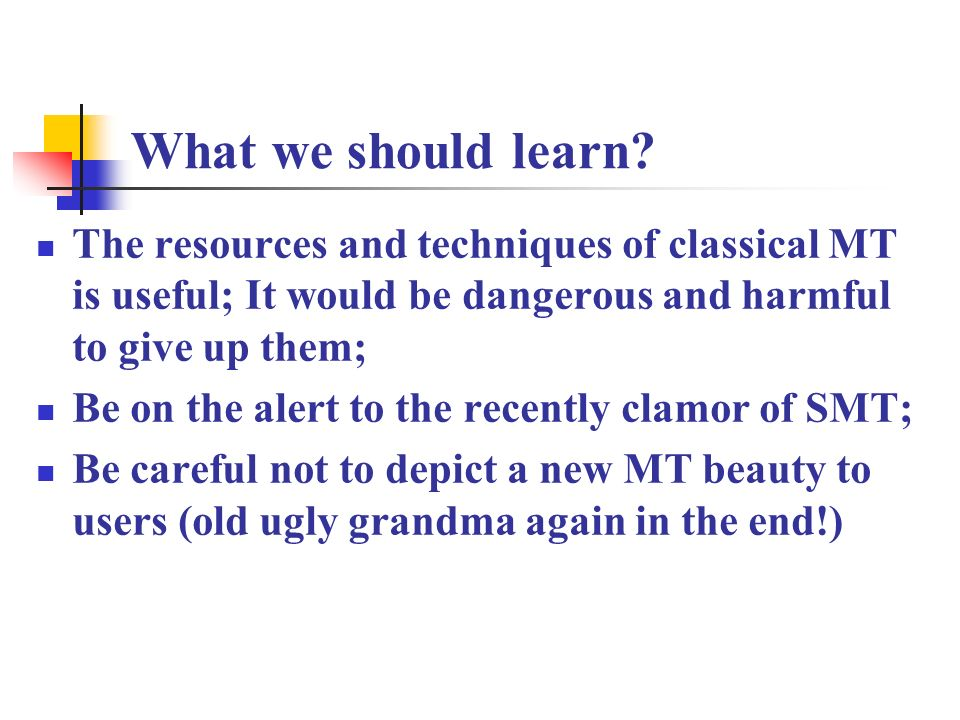 What we should learn.