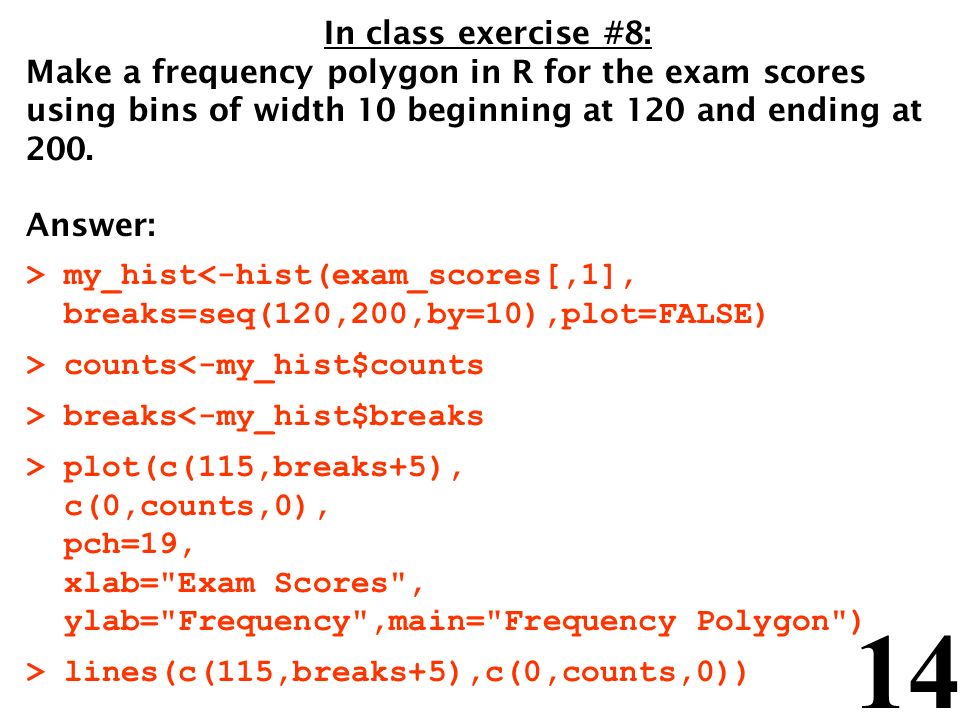 14 In class exercise #8: Make a frequency polygon in R for the exam scores using bins of width 10 beginning at 120 and ending at 200. Answer: > my_his