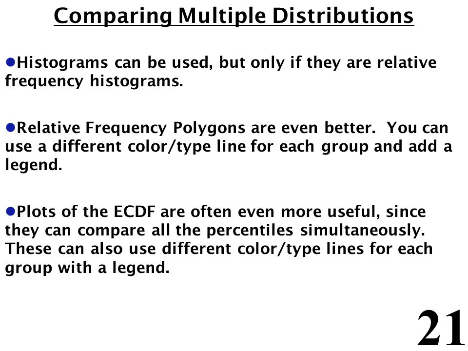 21 Comparing Multiple Distributions l Histograms can be used, but only if they are relative frequency histograms. l Relative Frequency Polygons are ev