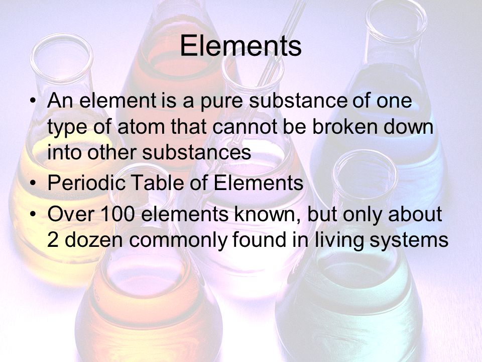 Chemical Compounds Substance formed by chemical combination of 2 or more elements in definite proportions Chemical formulas used to write compounds Example: H 2 O, NaCl Compounds have different properties than the elements that form them Example: H = gas, O = gas; H 2 O = liquid