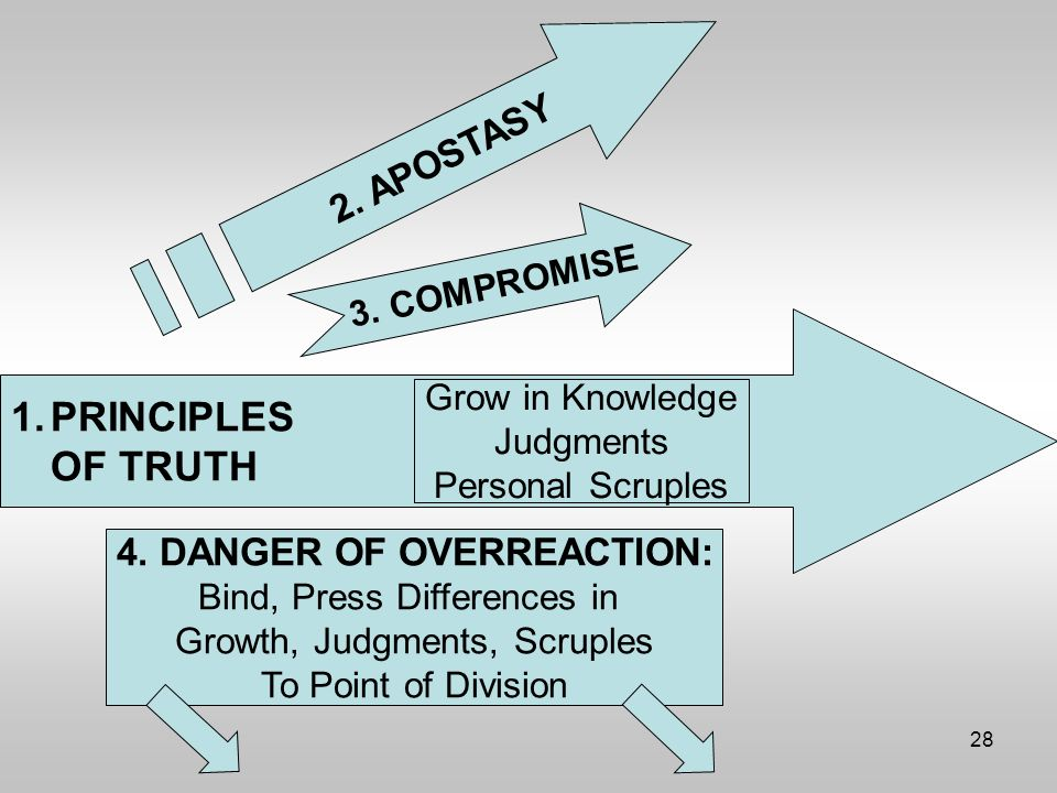 28 1.PRINCIPLES OF TRUTH Grow in Knowledge Judgments Personal Scruples 2.