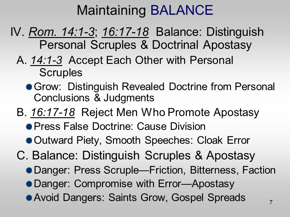 18 Maintaining BALANCE X.Balance or Lack of It in Modern Controversies D.