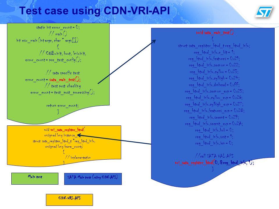 Test case using CDN-VRI-API void sata_main_test() { struct sata_register_htod_t reg_htod_info; reg_htod_info.c_bit = 1; reg_htod_info.features = 0x21;