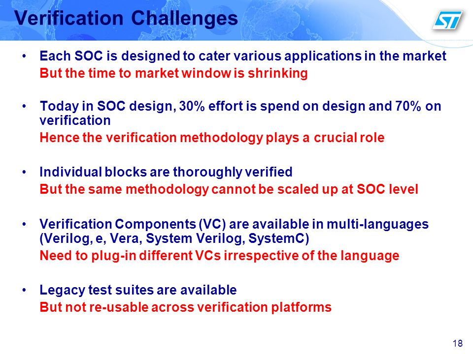 18 Verification Challenges Each SOC is designed to cater various applications in the market But the time to market window is shrinking Today in SOC de