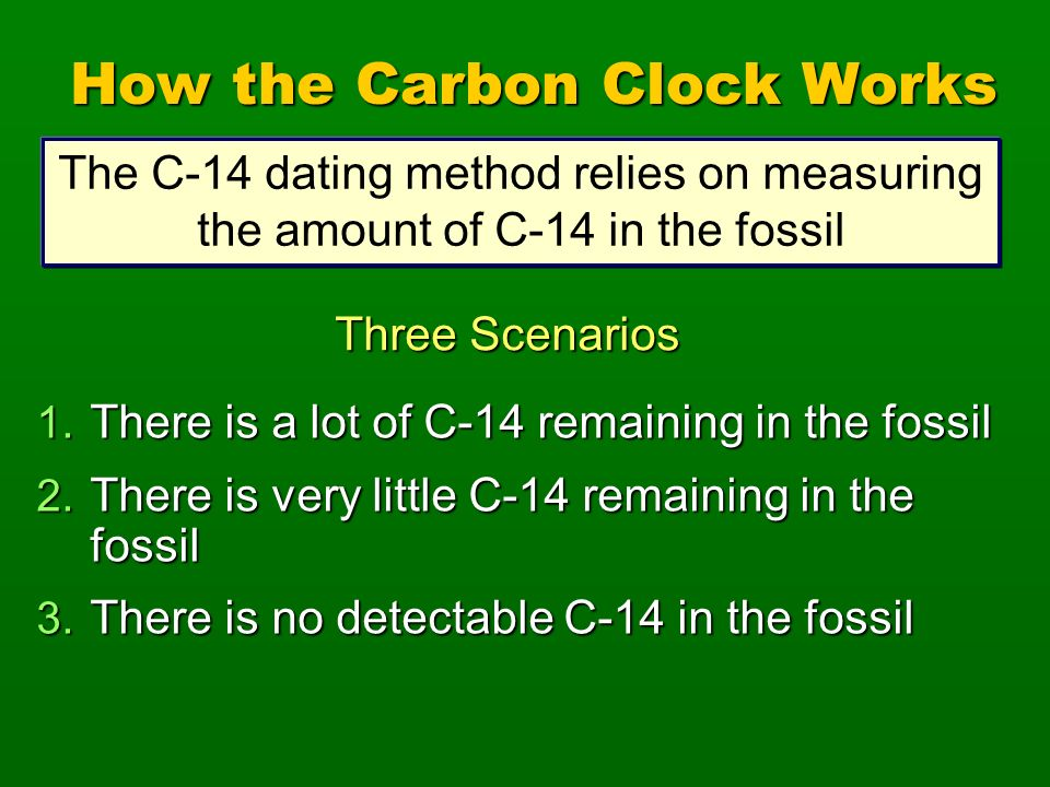 1. There is a lot of C-14 remaining in the fossil 2. There is very little C-14 remaining in the fossil 3. There is no detectable C-14 in the fossil Th