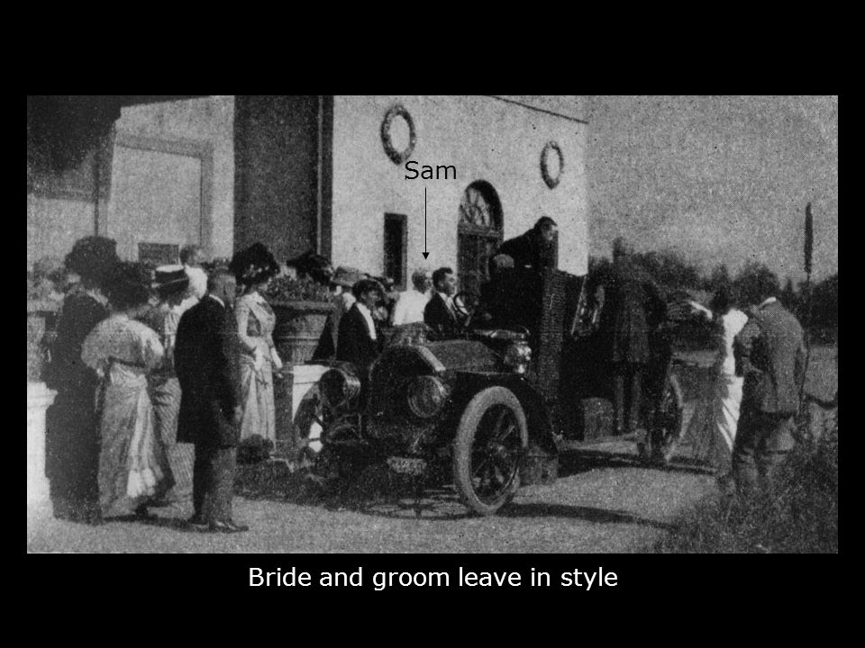 Bride and groom leave in style Sam