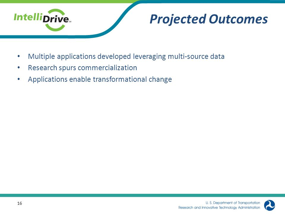 Projected Outcomes Multiple applications developed leveraging multi-source data Research spurs commercialization Applications enable transformational