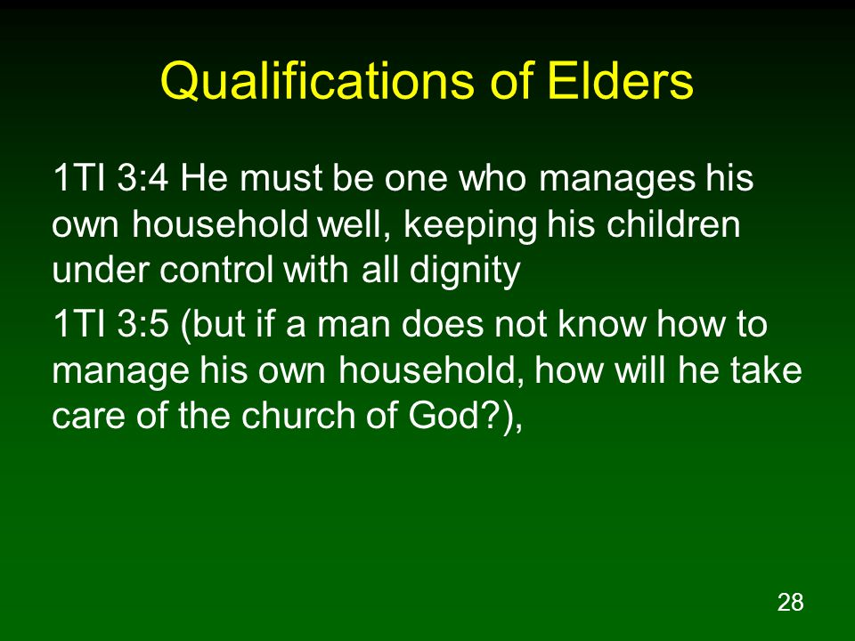 28 Qualifications of Elders 1TI 3:4 He must be one who manages his own household well, keeping his children under control with all dignity 1TI 3:5 (bu