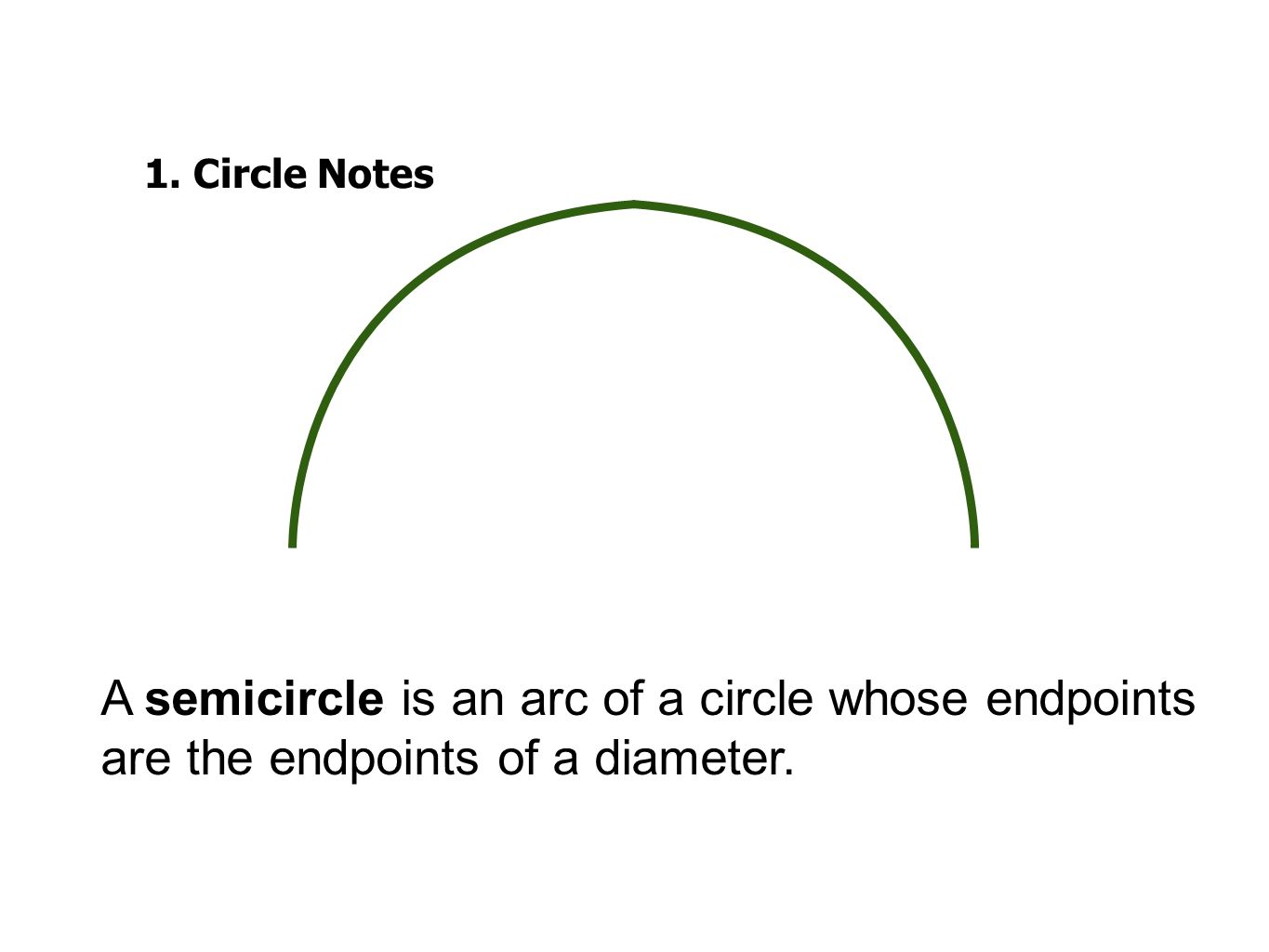 1.Circle Notes A semicircle is an arc of a circle whose endpoints are the endpoints of a diameter.