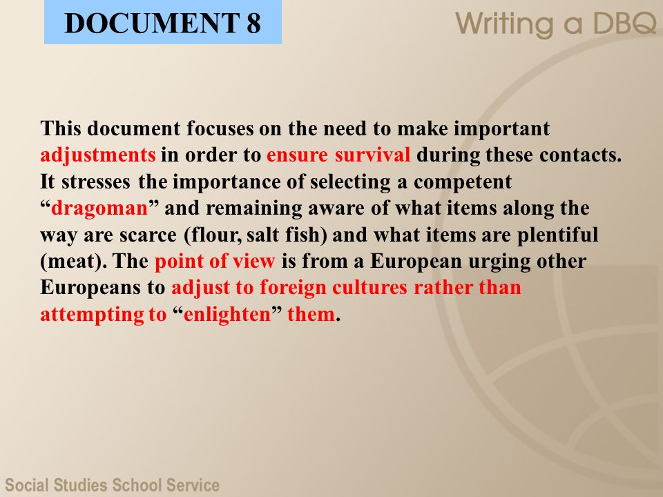 This document focuses on the need to make important adjustments in order to ensure survival during these contacts. It stresses the importance of selec