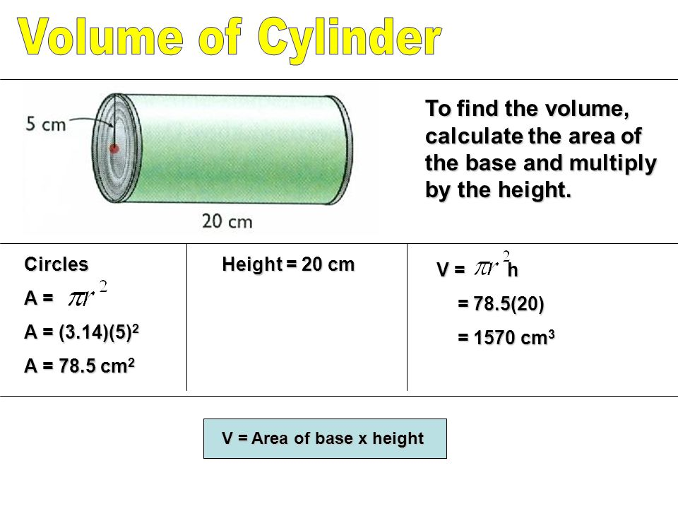 To find the volume, calculate the area of the base and multiply by the height.