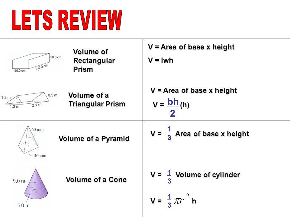 Volume of Cylinder V = Area of base x height V = h