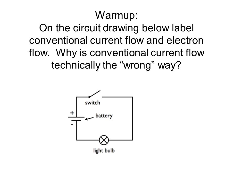 Warmup: On the circuit drawing below label conventional current flow and electron flow. Why is conventional current flow technically the wrong way?