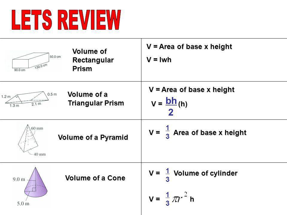 Volume of a Triangular Prism Volume of Rectangular Prism Volume of a Pyramid V = Area of base x height V = lwh V = Area of base x height V = (h) bh 2