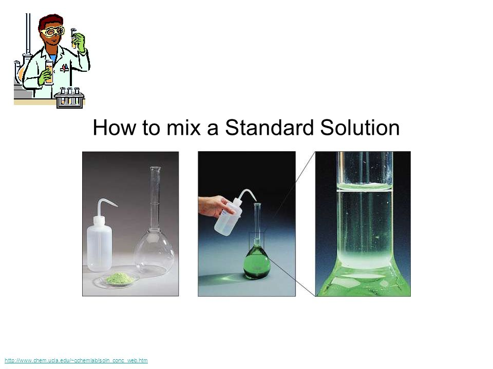How to mix a Standard Solution http://www.chem.ucla.edu/~gchemlab/soln_conc_web.htm