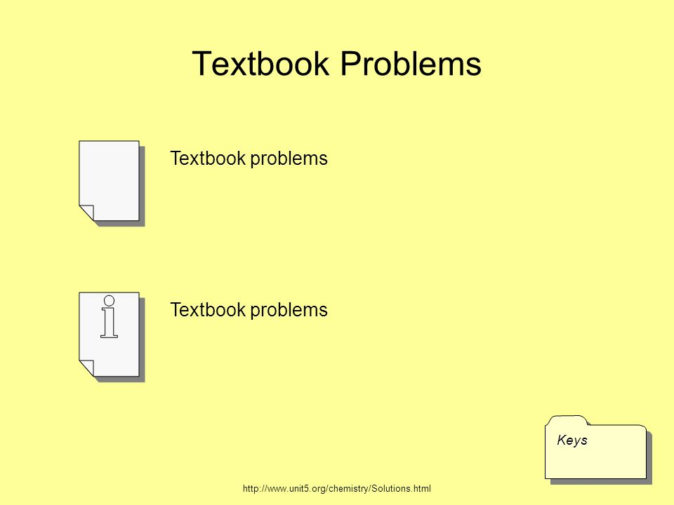Textbook Problems KeysKeys Textbook problems http://www.unit5.org/chemistry/Solutions.html