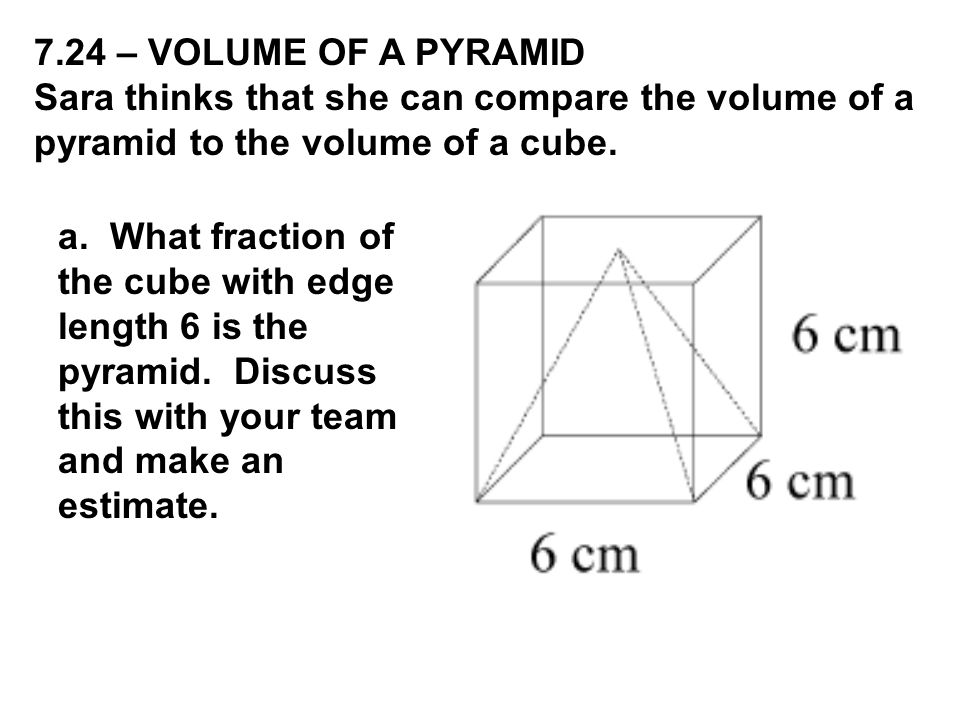 b.Use computer software to compare the volume of a prism versus a pyramid.