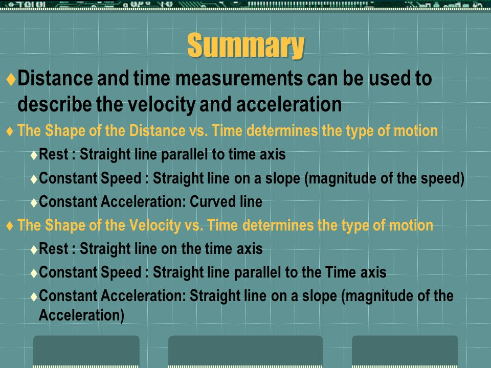 Summary Distance and time measurements can be used to describe the velocity and acceleration The Shape of the Distance vs. Time determines the type of