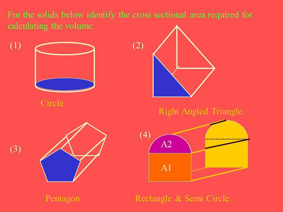 For the solids below identify the cross sectional area required for calculating the volume: Circle (2) Right Angled Triangle. (3) Pentagon (4) A2 A1 R