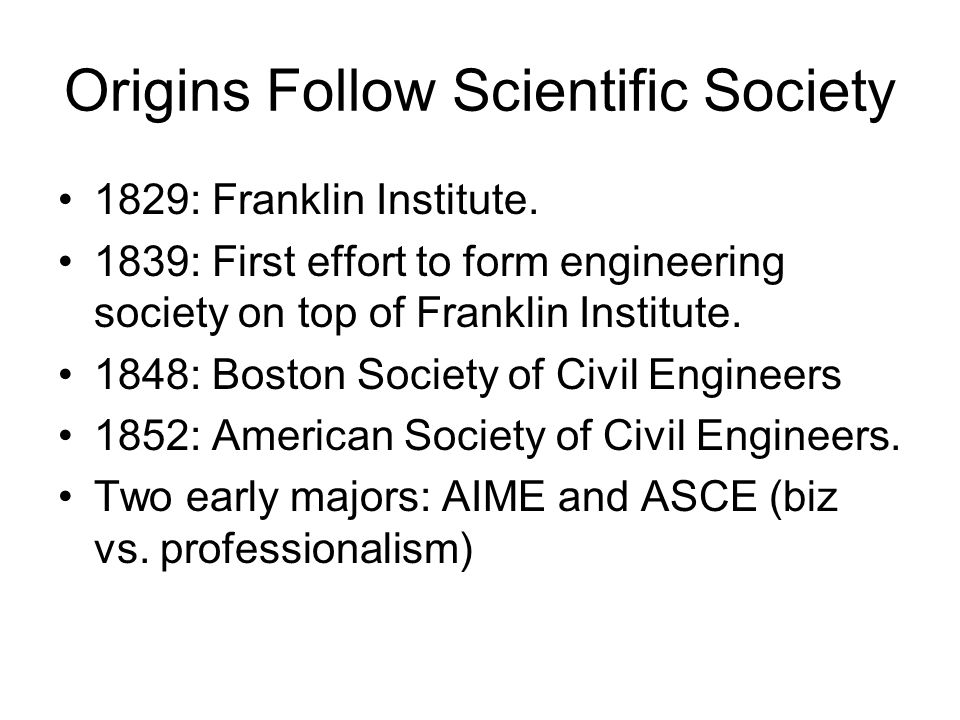 Origins Follow Scientific Society 1829: Franklin Institute.