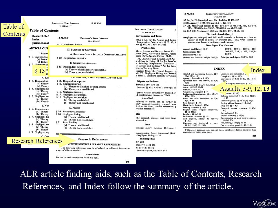 ALR article finding aids, such as the Table of Contents, Research References, and Index follow the summary of the article.