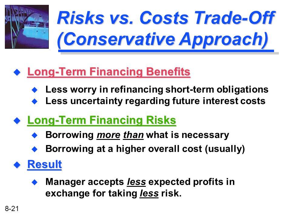 8-21 Risks vs. Costs Trade-Off (Conservative Approach) u Long-Term Financing Benefits u Less worry in refinancing short-term obligations u Less uncert