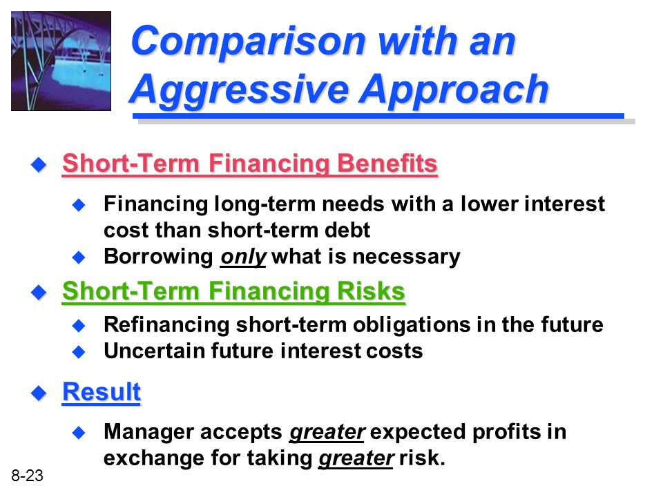 8-23 Comparison with an Aggressive Approach u Short-Term Financing Benefits u Financing long-term needs with a lower interest cost than short-term deb