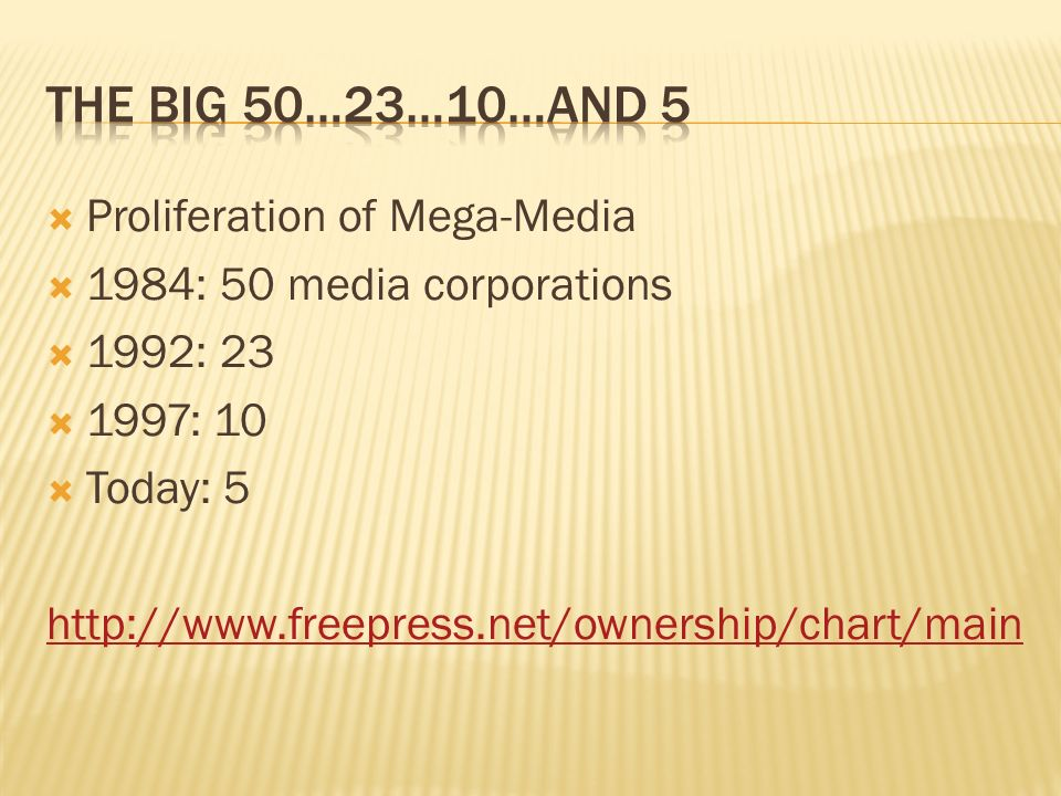Proliferation of Mega-Media 1984: 50 media corporations 1992: 23 1997: 10 Today: 5 http://www.freepress.net/ownership/chart/main