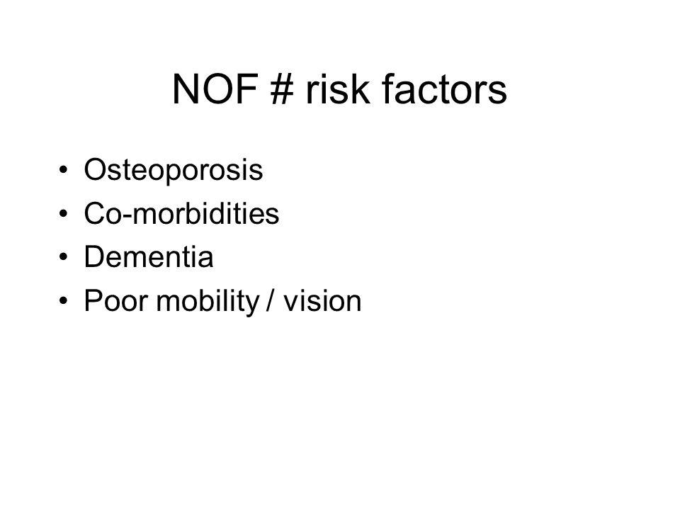 NOF # risk factors Osteoporosis Co-morbidities Dementia Poor mobility / vision