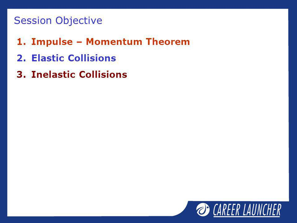 Session Objective 1.Impulse – Momentum Theorem 2.Elastic Collisions 3.Inelastic Collisions