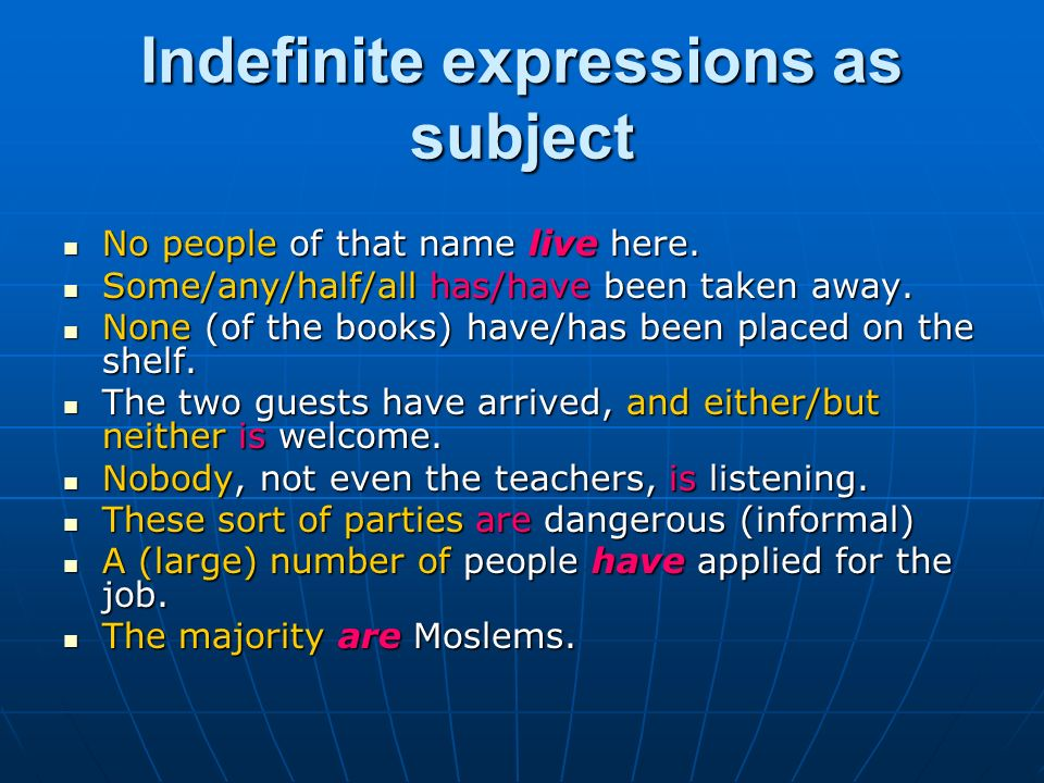Indefinite expressions as subject No people of that name live here. No people of that name live here. Some/any/half/all has/have been taken away. Some