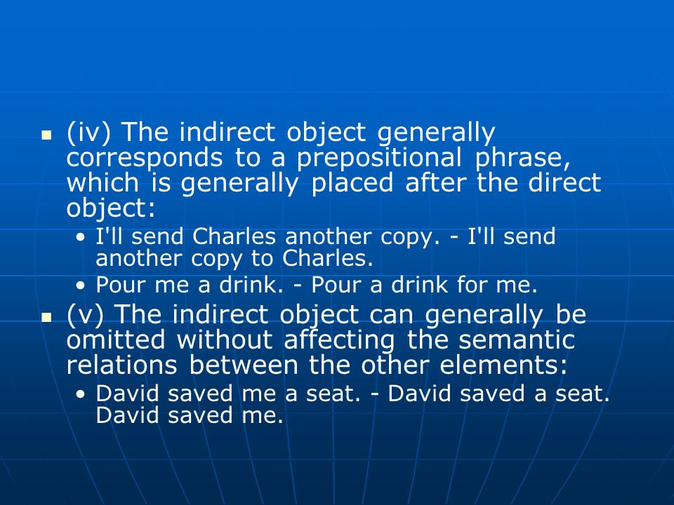 (iv) The indirect object generally corresponds to a prepositional phrase, which is generally placed after the direct object: I'll send Charles another