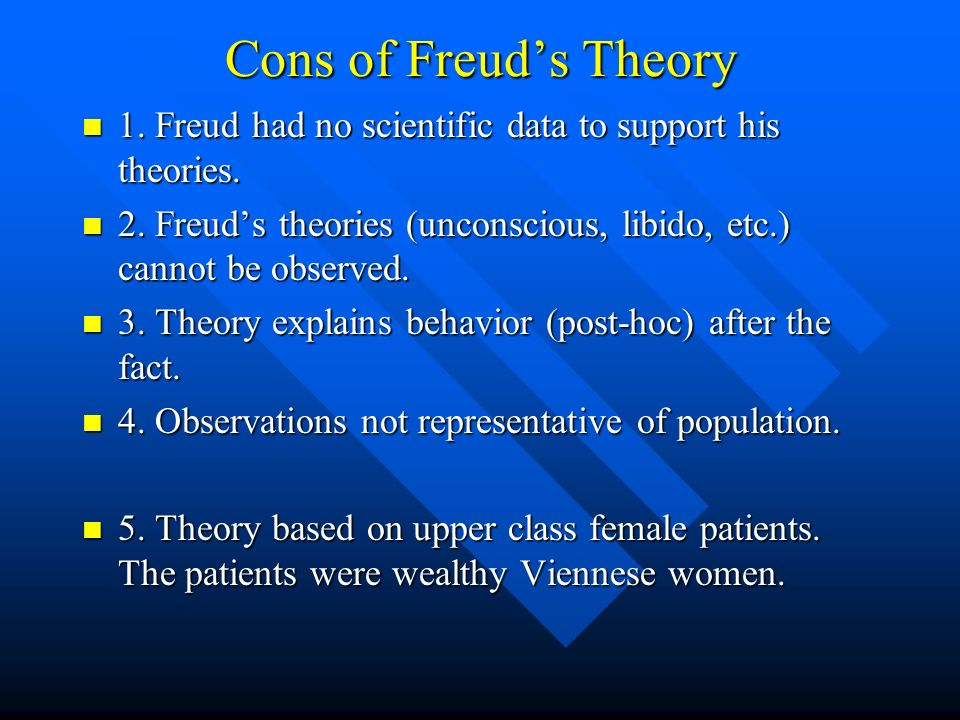 Cons of Freuds Theory 1. Freud had no scientific data to support his theories. 1. Freud had no scientific data to support his theories. 2. Freuds theo