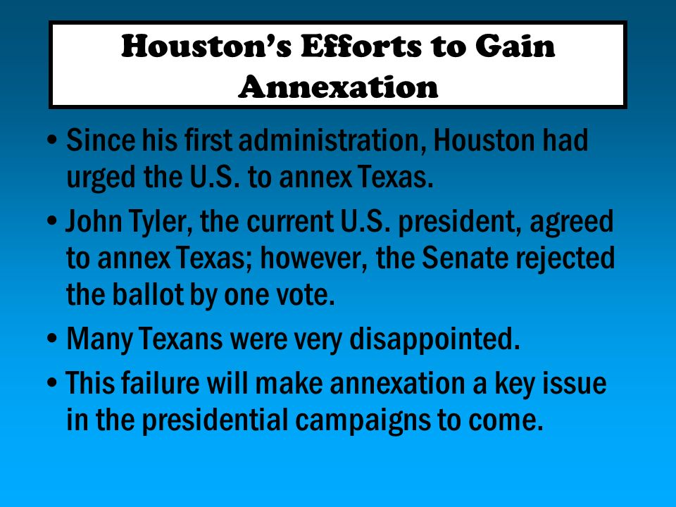 Houston had to deal with conflicts among the Texans. There was a long-standing feud between two groups in East Texas. This feud became known as the Re
