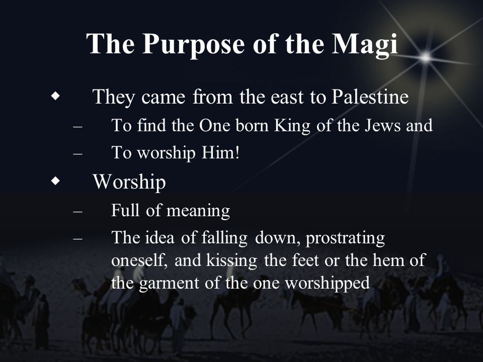 The Purpose of the Magi They came from the east to Palestine – To find the One born King of the Jews and – To worship Him.