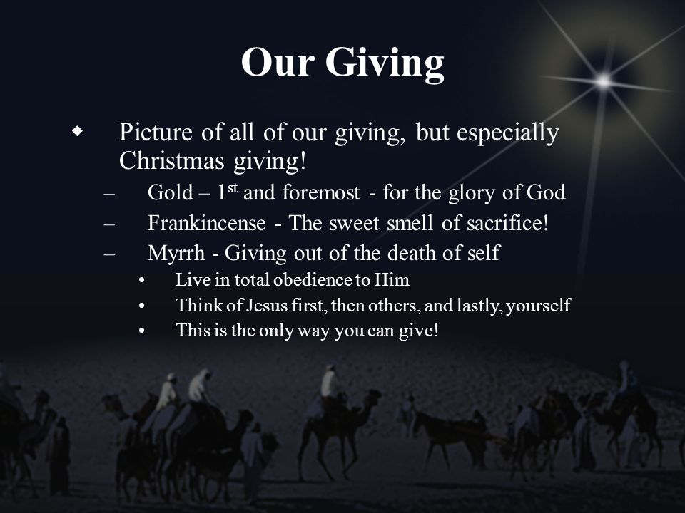 Our Giving Picture of all of our giving, but especially Christmas giving.