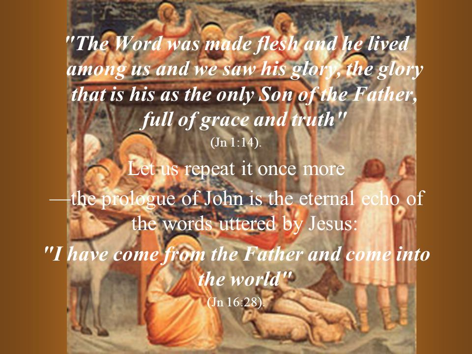 The Word was made flesh and he lived among us and we saw his glory, the glory that is his as the only Son of the Father, full of grace and truth (Jn 1:14).