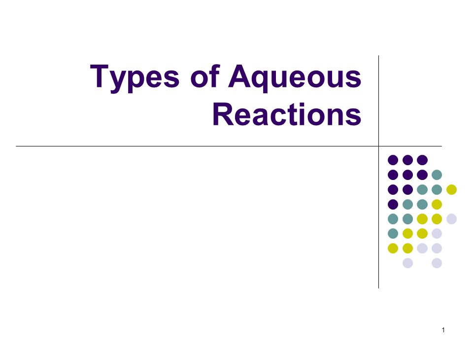 Types of Aqueous Reactions 1