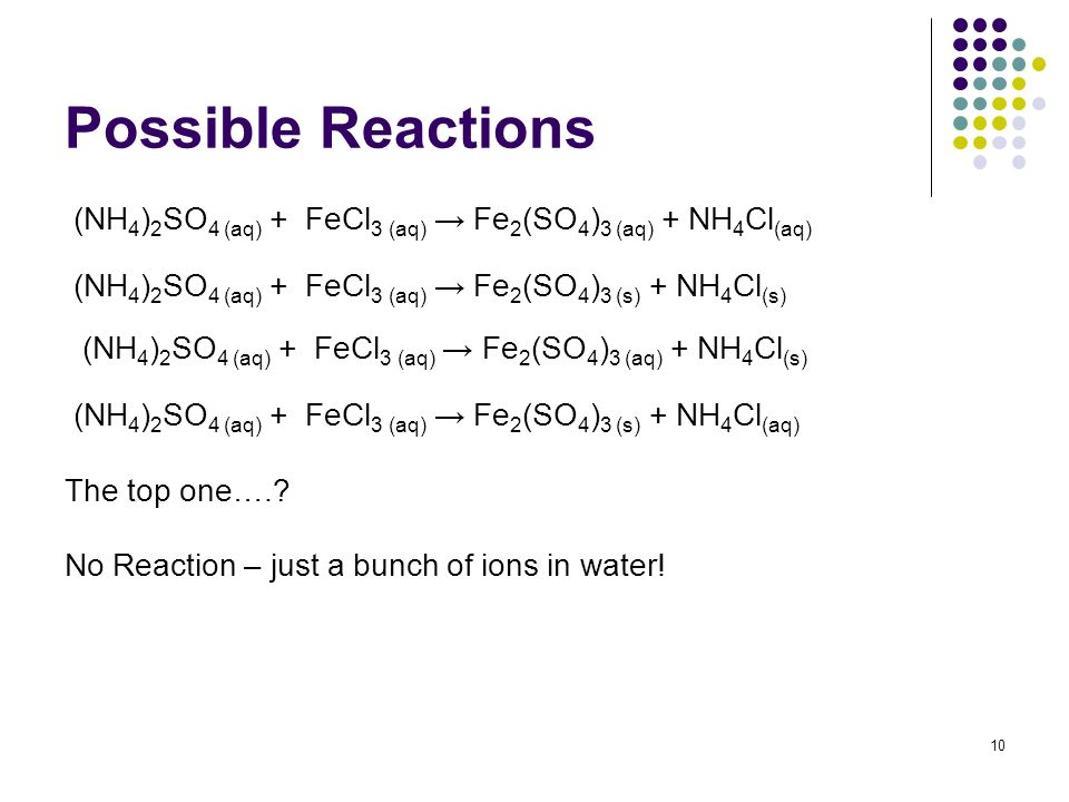Possible Reactions (NH 4 ) 2 SO 4 (aq) + FeCl 3 (aq) Fe 2 (SO 4 ) 3 (aq) + NH 4 Cl (aq) (NH 4 ) 2 SO 4 (aq) + FeCl 3 (aq) Fe 2 (SO 4 ) 3 (s) + NH 4 Cl