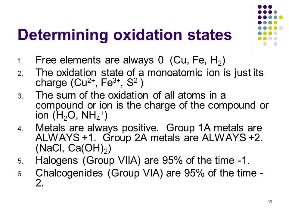 Determining oxidation states 1. Free elements are always 0 (Cu, Fe, H 2 ) 2. The oxidation state of a monoatomic ion is just its charge (Cu 2+, Fe 3+,