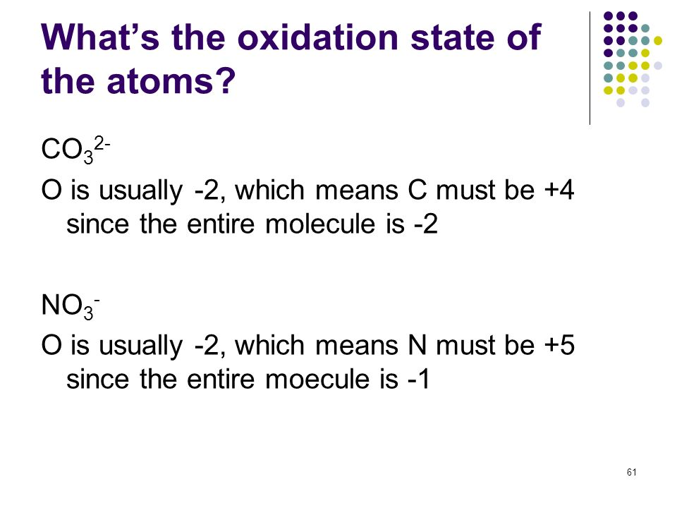 Whats the oxidation state of the atoms? CO 3 2- O is usually -2, which means C must be +4 since the entire molecule is -2 NO 3 - O is usually -2, whic