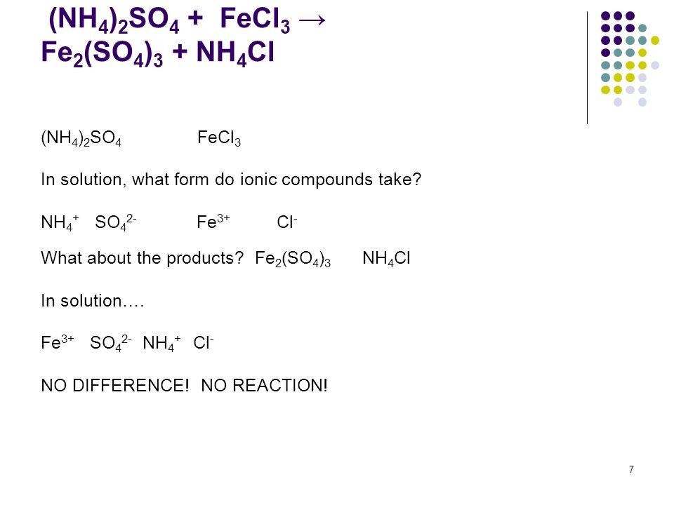 (NH 4 ) 2 SO 4 + FeCl 3 Fe 2 (SO 4 ) 3 + NH 4 Cl (NH 4 ) 2 SO 4 FeCl 3 In solution, what form do ionic compounds take? NH 4 + SO 4 2- Fe 3+ Cl - What