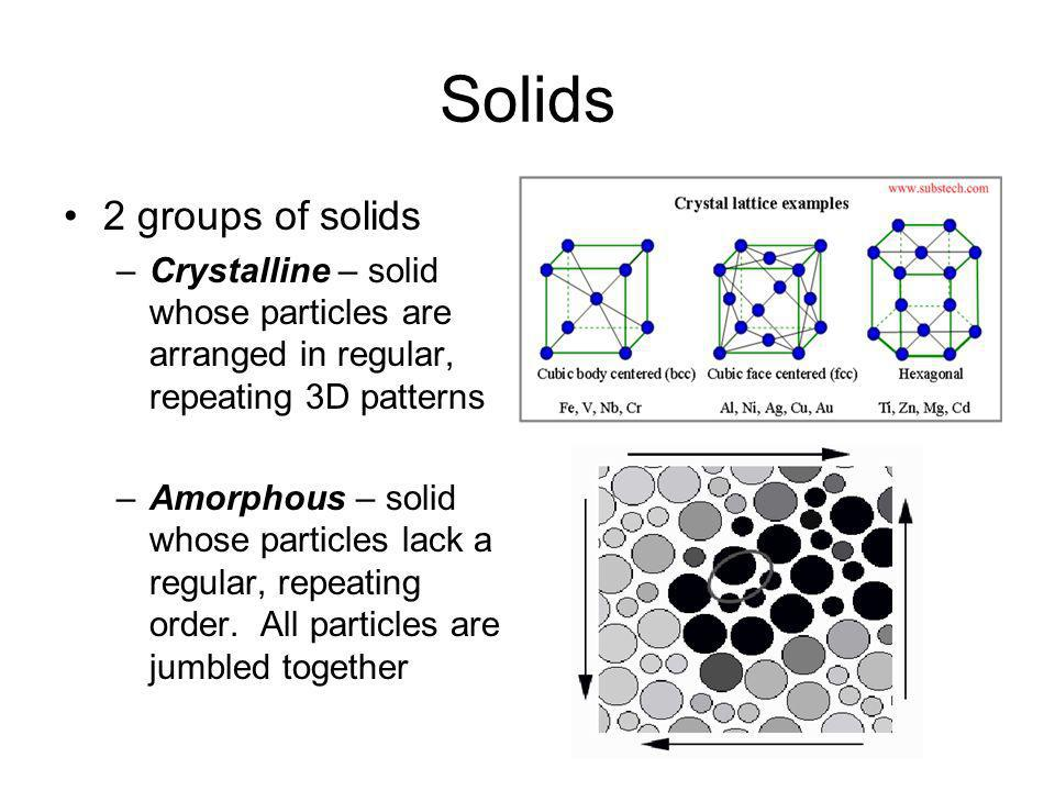 Solids 2 groups of solids –Crystalline – solid whose particles are arranged in regular, repeating 3D patterns –Amorphous – solid whose particles lack