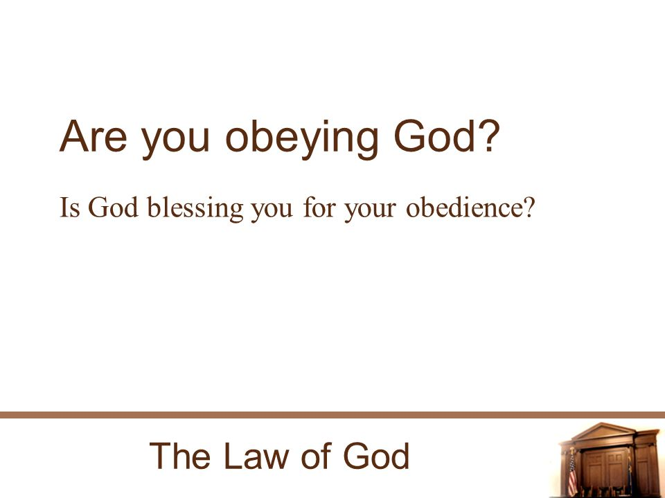 The Law of God Are you obeying God Is God blessing you for your obedience