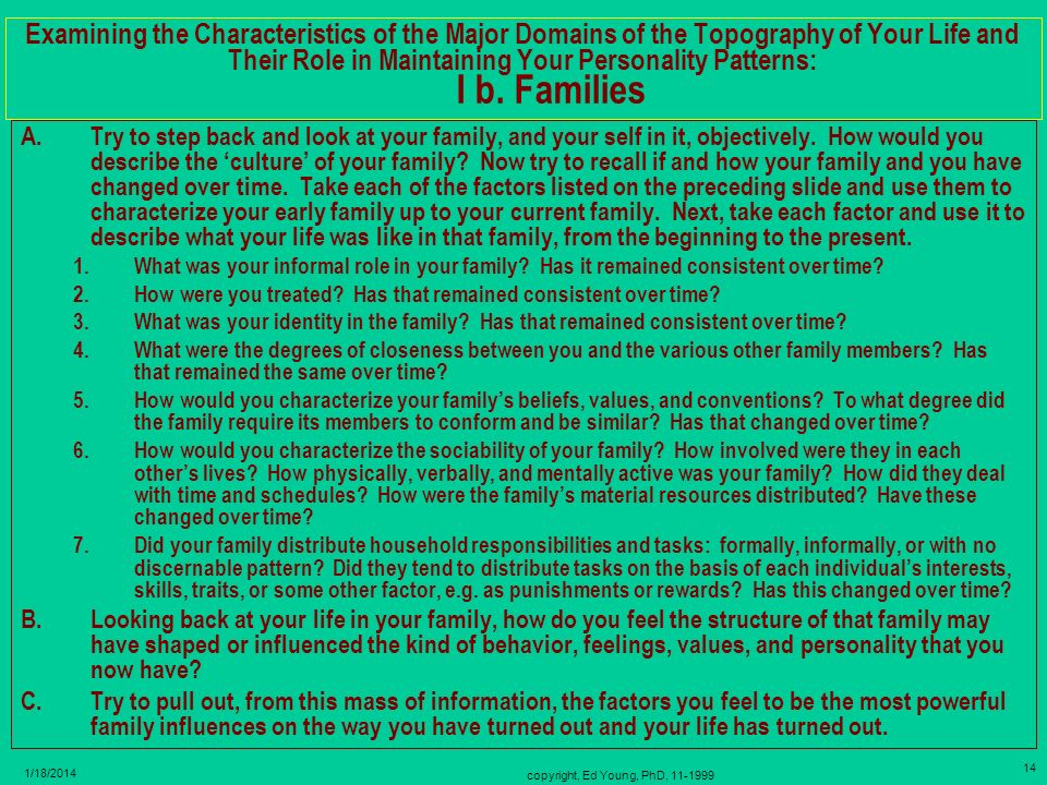 copyright, Ed Young, PhD, 11-1999 13 1/18/2014 Characteristics of the Major Domains Constituting the Topography of Your Life and Their Role in Maintai
