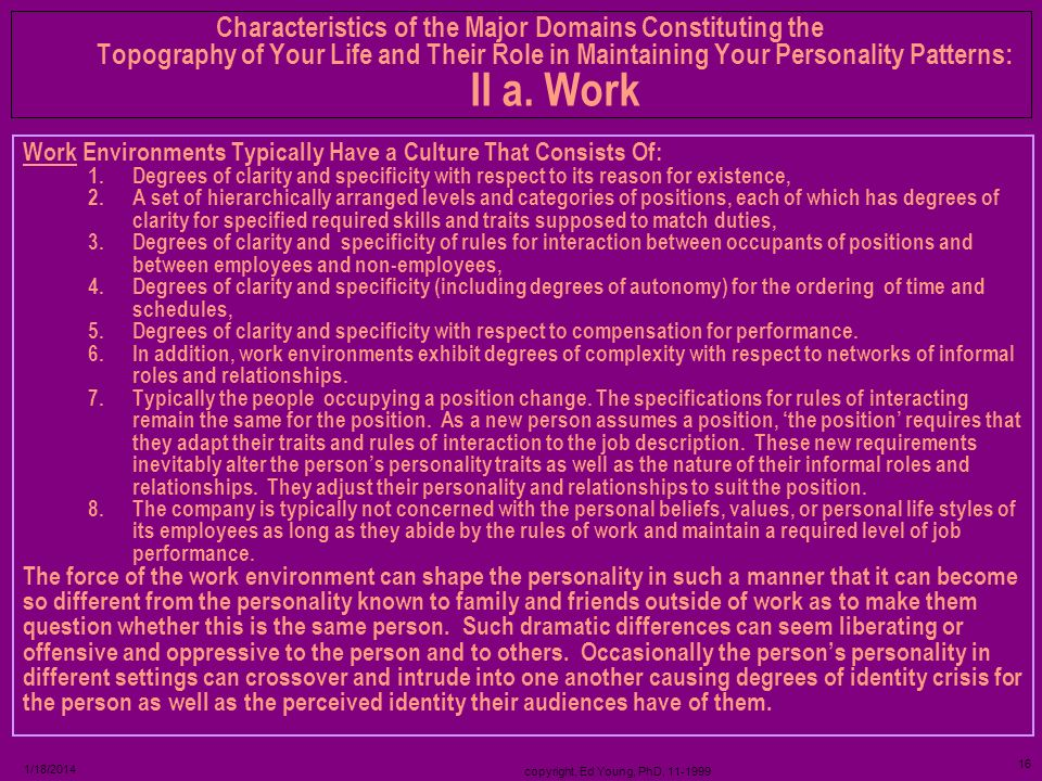 copyright, Ed Young, PhD, 11-1999 15 1/18/2014 Settings – Positions – Goals - Tasks - Roles – Compensation - Benefits - Situations – Roles (Informal)