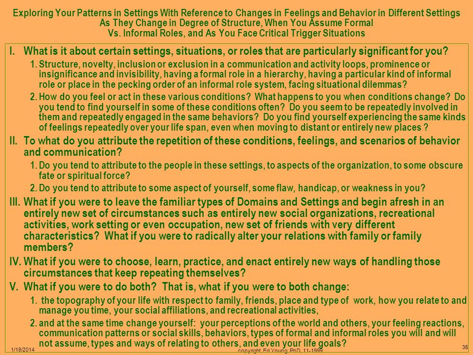 copyright, Ed Young, PhD, 11-1999 34 1/18/2014 Exploring Your Awareness of Your Changing Patterns As You Move From Setting to Setting I.Normally, peop